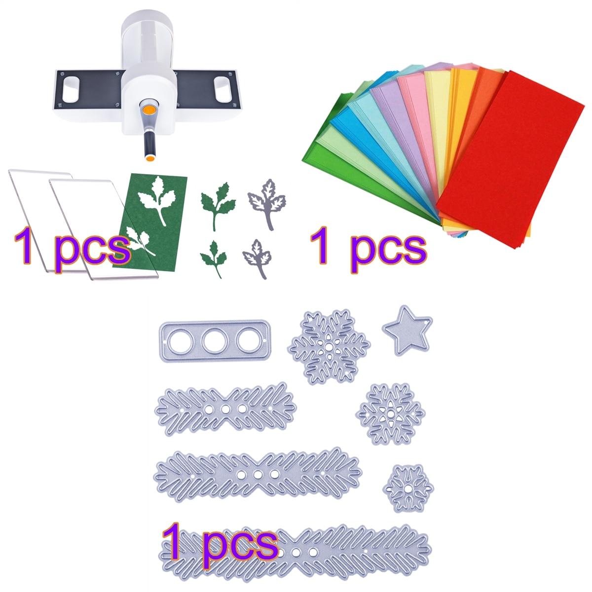 Bricolage découpe gaufrage Machine Scrabooking Alubm carte Cutter outil + 8 pièces coupe moule ensemble + 200 feuilles Double face pliage papier