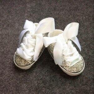 Image 4 - בלינג יילוד מותאם אישית עבור קונה בעבודת יד תינוקות הטבלה קשת מדהים גליטר נהדר sapatos sparkle תינוק ראשון הליכונים
