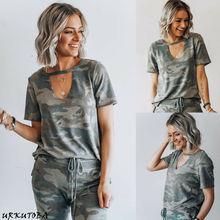Women Summer Casual Camouflage T-Shirt Ladies Sweatshirt Sho