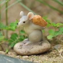 Pastoral rat Figurines Creative cute Wildlife Rat resin Handmad Crafts miniature garden Decor Animal Statues birthday present