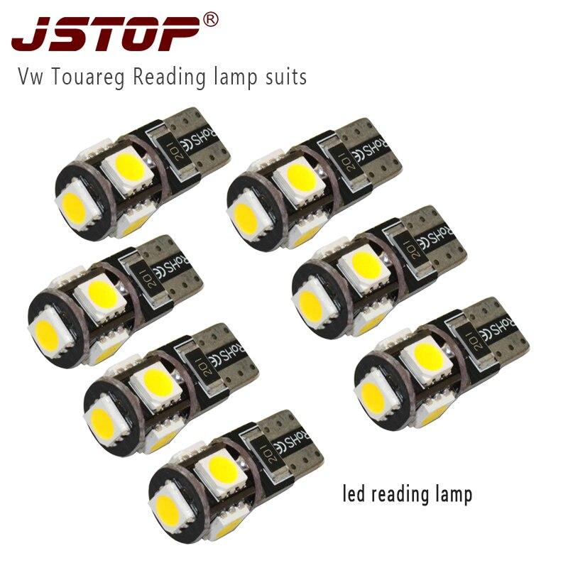 JSTOP 7pcs/set Vw led lights car bulbs T10 lamp 5050smd W5W 12VAC Warm white canbus led automobile Lights carprie super drop ship new 2 x canbus error free white t10 5 smd 5050 w5w 194 16 interior led bulbs mar713