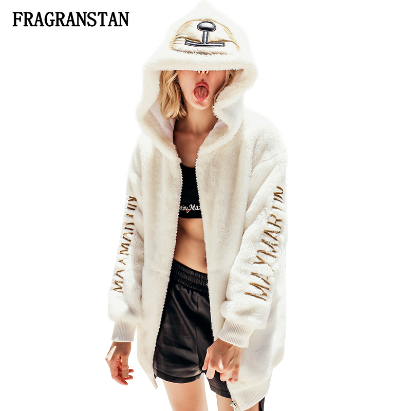 2019 Female New Thick Warm Hooded Fur Coat Women Fashion Letter Embroidery High Quality Casual Outerwear