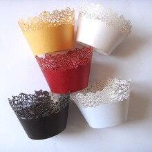 Envío Gratis 12 Uds elegir un Color rojo/Marfil/Blanco/oro Vintage rosa Magdalena de flor envoltura Magdalena taza de papel para pastel Liner