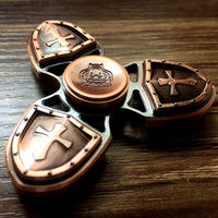 Tri Spinner Fidget Hand Toy Brass Copper EDC Desk Focus ADHD Metal Ceramic