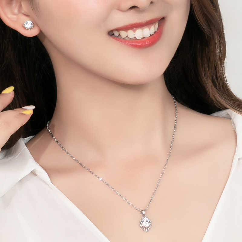 Jewelry Sets for Women Round Cubic Zircon Hypoallergenic Copper Necklace/Earrings Jewelry Sets Wholesale