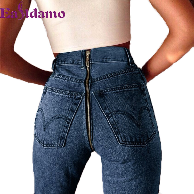 Eastdamo Skinny Jeans Women High Waist Blue Denim Pencil Pants Elastic Casual Stretch Jeans Slim Bandage Jeans Long Trousers rosicil women jeans plus size stretch skinny high waist jeans pants women blue pencil casual slim denim pants top 003