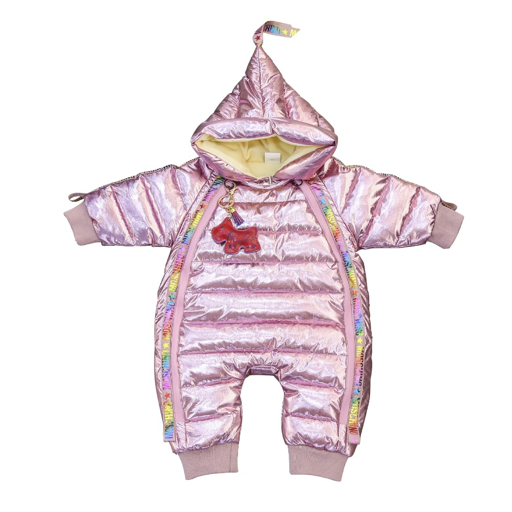 Baby boy girl Clothes 2018 New born Winter Hooded Rompers Thick Down Outfit Newborn Jumpsuit Children Costume toddler romper