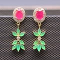 Luxury Lab-created Ruby&Emerald AAA Cubic Zirconia Gold Plated Earring 2colors E05-2