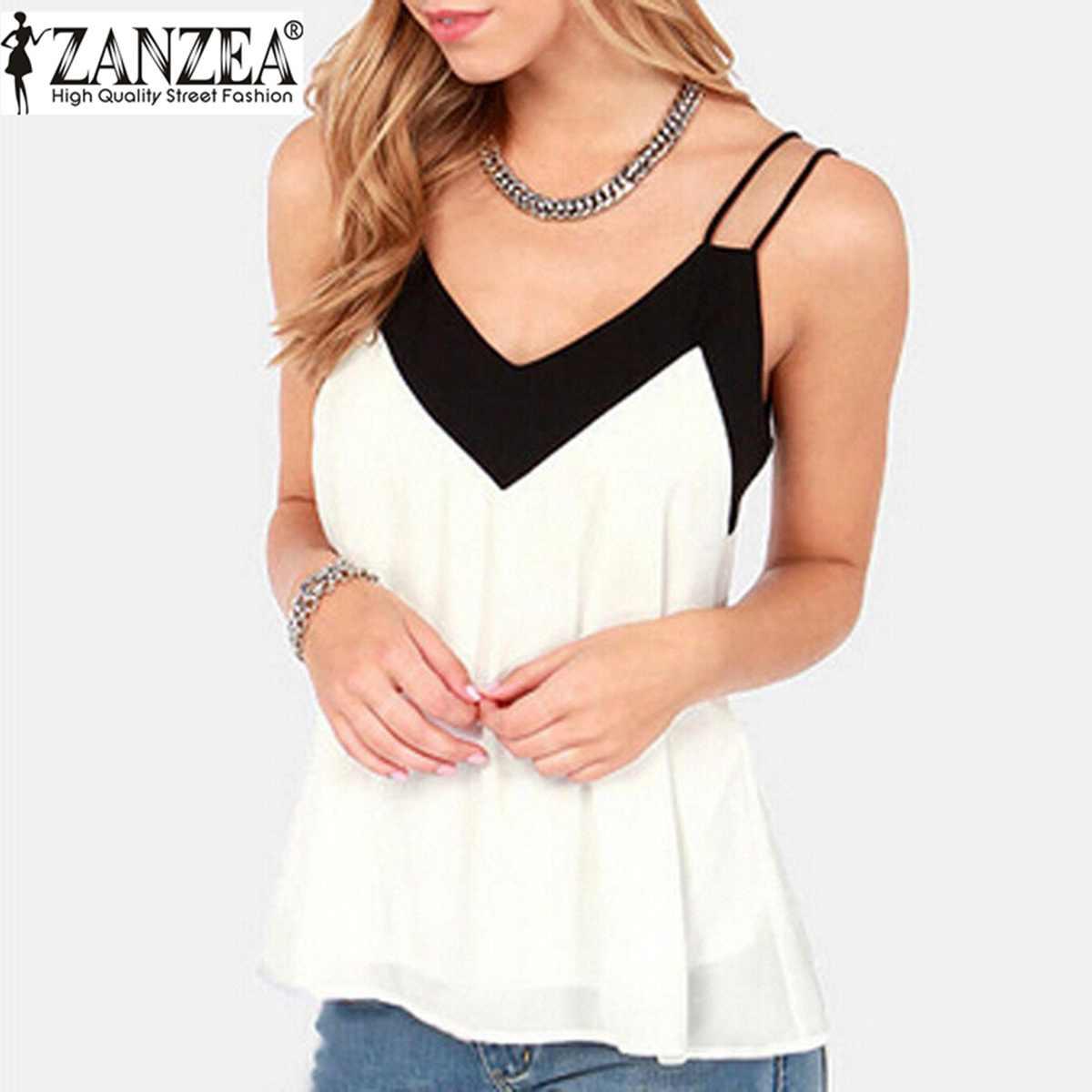 d7f344eea 2019 estilo de verano chaleco Top mujer cuello en V sin mangas Halter blusa  camisa Sexy Casual suelta Blusas de gasa talla grande