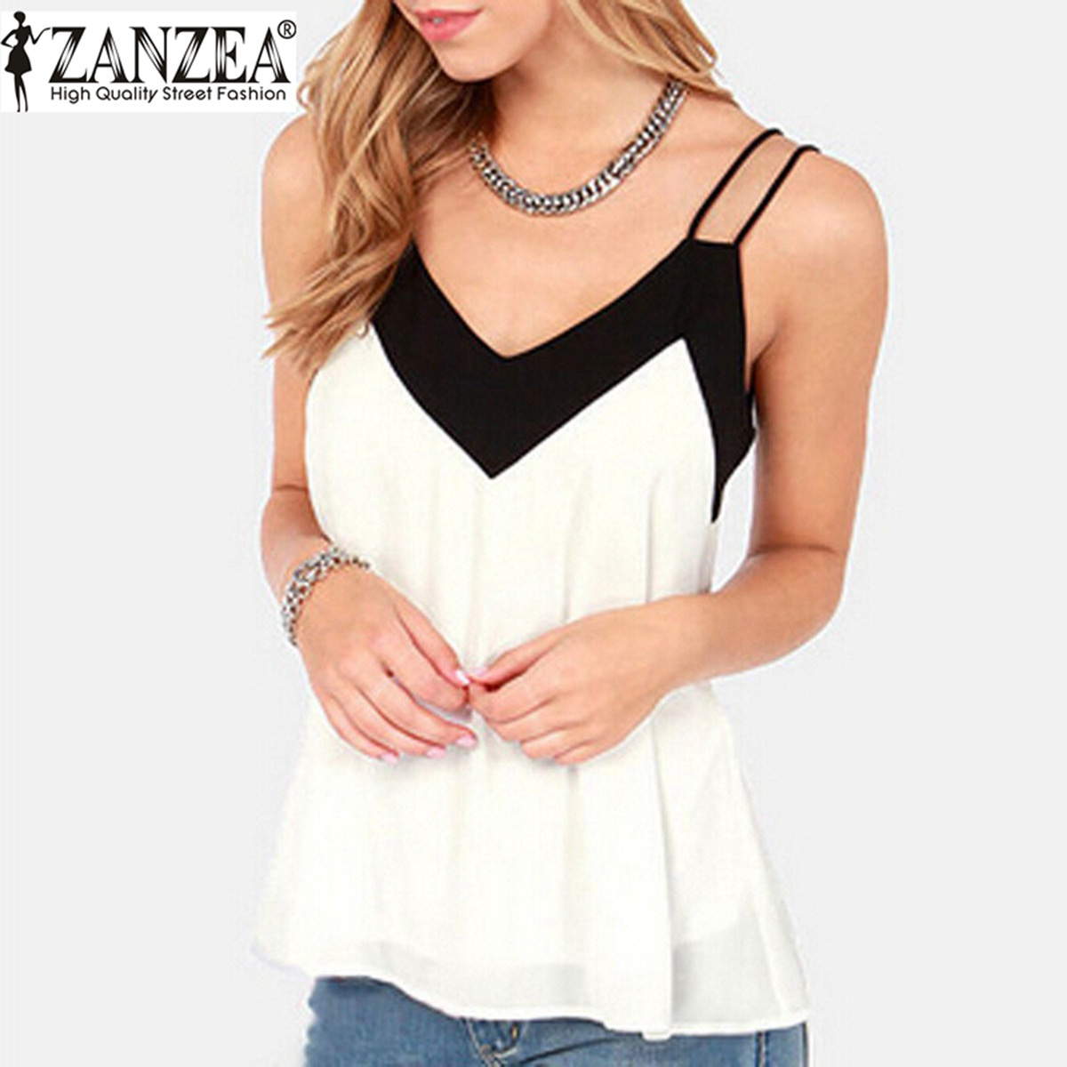 2019 Summer Style Tank Top Vest Women V-Neck Sleeveless Halter   Blouse     Shirt   Sexy Casual Loose Tops Chiffon Blusas Plus Size