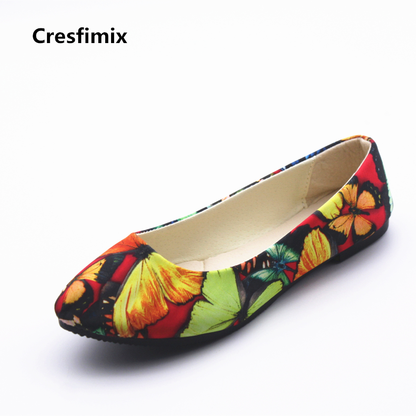 Cresfimix sapatos femininos women cute slip on summer flat shoes lady plus size pointed toe pattern flats female cute shoes beyarne spring summer women moccasins slip on women flats vintage shoes large size womens shoes flat pointed toe ladies shoes