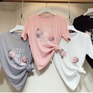 aceoneone 2018 summer style letter t-shirt female silk ab35c5b5d