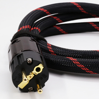 DIY Hi End 1.5M X SA OF8N Hifi Audio Power Cable Cord with EU/US rhodium /Gold plated power Plugs