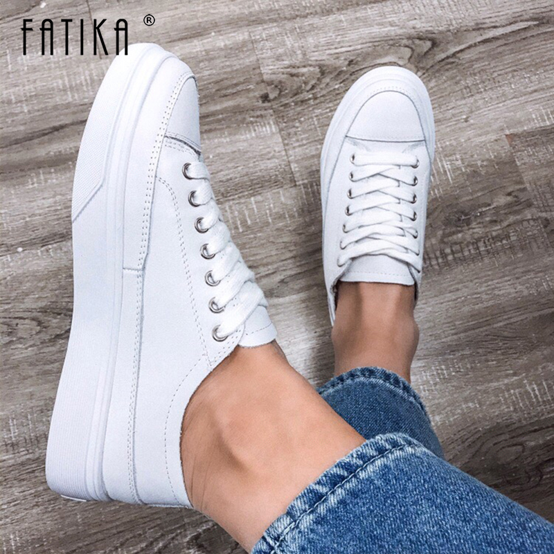 FATIKA Casual Stylish Basic Genuine Leather Sneakers Lace Up Spring Autumn Hot High Quality Thick Heels