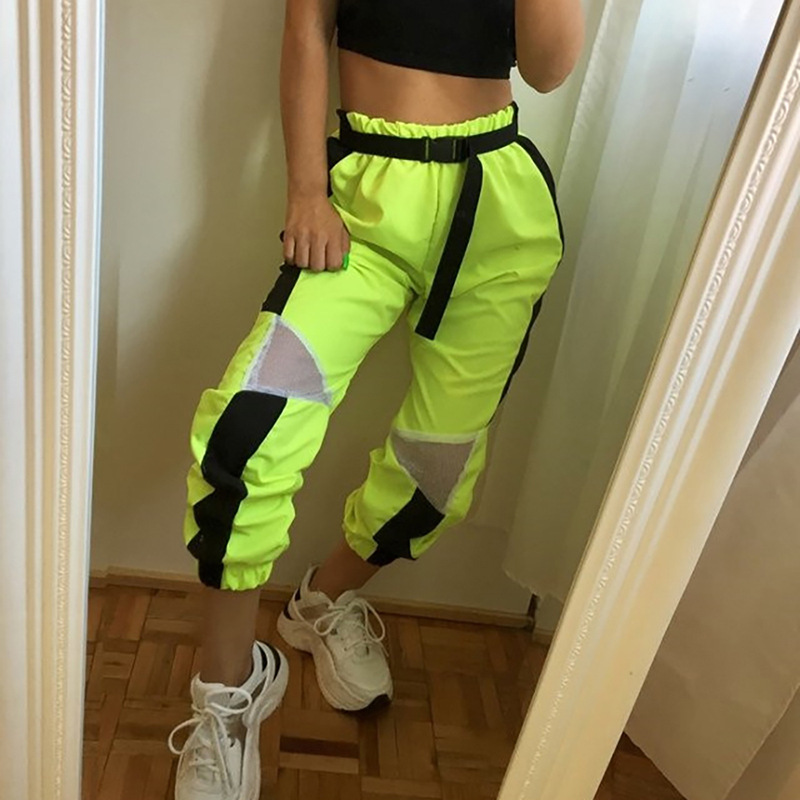 2019 Summer Neon Green Contrast Color Mesh Patchwork Sweat Pants High Waist Loose Casual Capris Women Sudadera Harem Trousers(China)