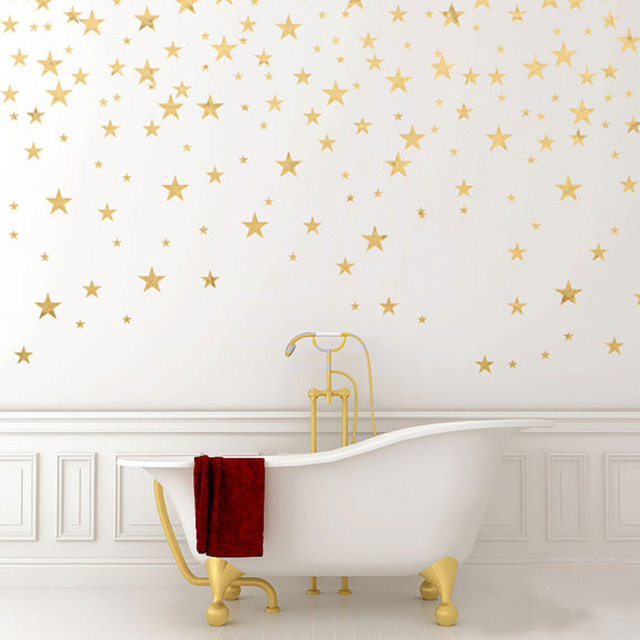 130pcs Package Stars Wall Art Gold Star Decal Removable Confetti Living