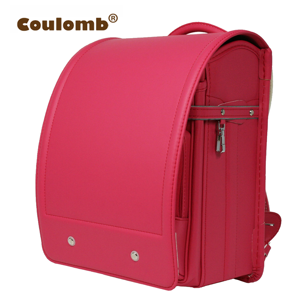 Coulomb Kids Randoseru Backpack For Children Orthopedic Solid PU Red Princess School Bags For Girl And Boys Baby Book Bags 2017