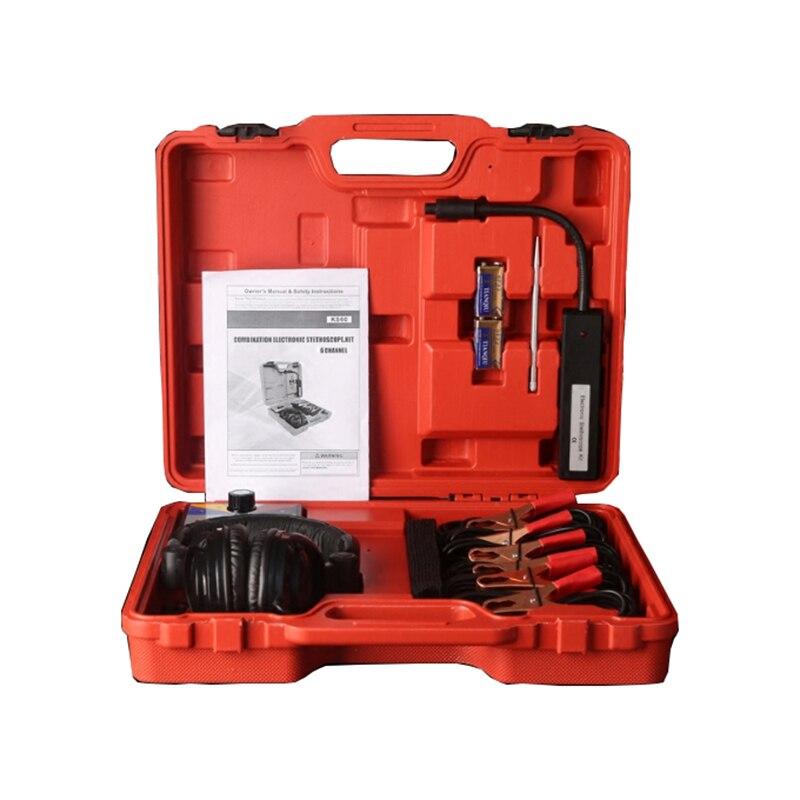 Combinação Estetoscópio Eletrônico do carro Kit Auto Car Ferramenta de Diagnóstico Avaria de Ruído Mecânico de Seis Canais