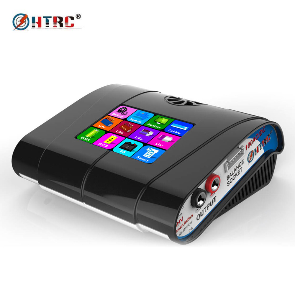 "HTRC HT100 Lipo Oplader AC / DC 3.2 ""Kleur LCD Touchscreen 100 W 10A RC Balans Lader Voor Leeuw / LiPo / LiFe / LiHv Batterij"