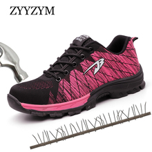 ZYYZYM Women Work Safety Shoes Plus Size Steel Toe Casual Sneakers Lace up Outdoor Boots For