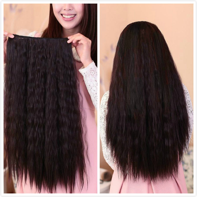 Free Shipping 60cm Deep Wavy Synthetic Hair 5 Clip In Hair Extension