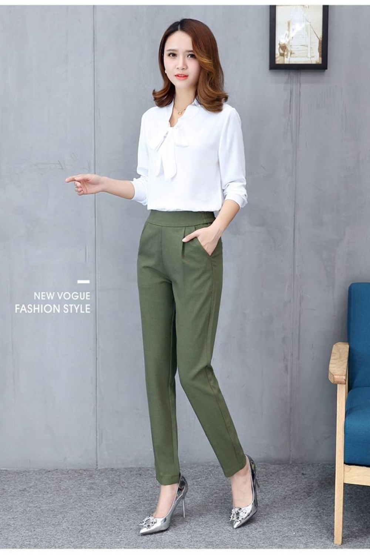 Women's Pants Casual Fashion Solid Mid Elastic Waist Long Trousers Office Plus Size Women Joggers Sweat Skinny Pencil Pant Black 3
