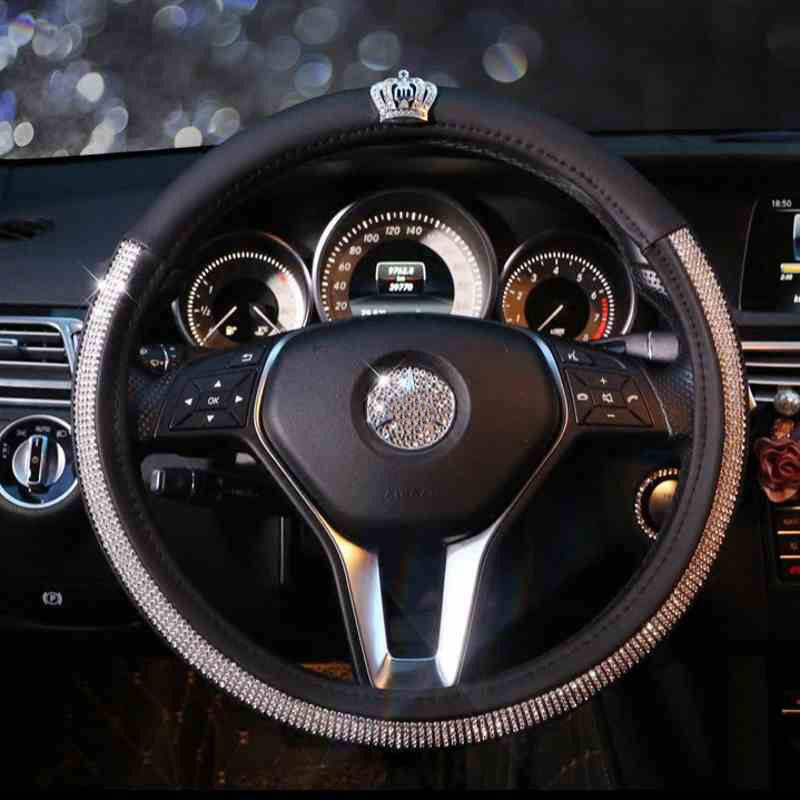 Fashion Diamond Crown Crystal Car Steering Wheel Cover Leather Rhinestone Covered Steering-Wheel Covers Women Girls Accessories vintage leather steering wheel cover flower printing women s car steering wheel covers for girls car steering accessories
