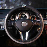 Fashion Diamond Crown Crystal Car Steering Wheel Cover Leather Rhinestone Covered Steering-Wheel Covers Women Girls Accessories