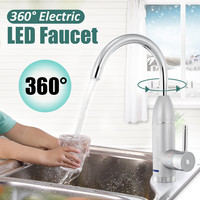 360 Degree Instant Electric Water Heater Faucet Hot Cold Mixer Faucet Kitchen Instant Heating Tap Water Heater with LED