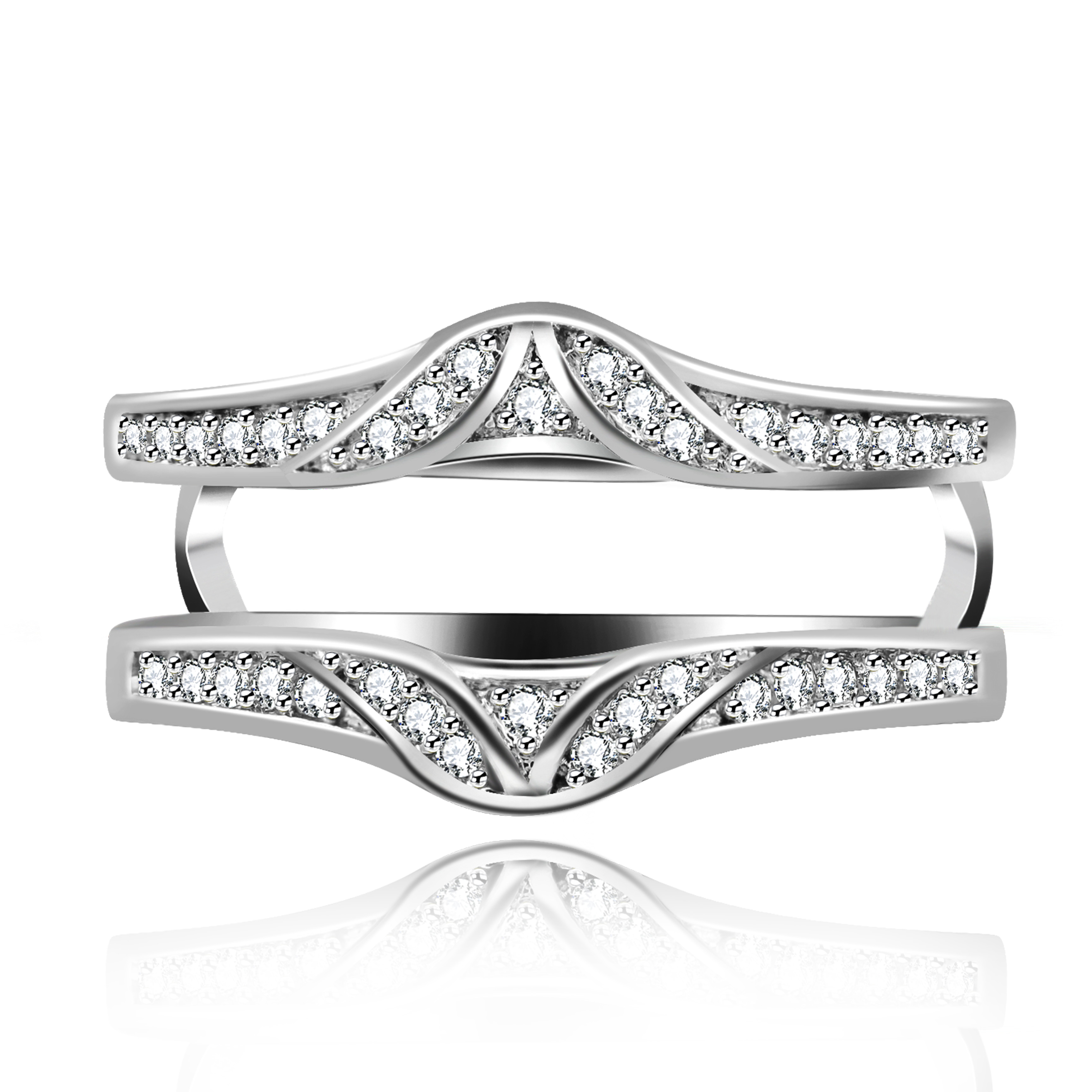 GULICX  Classic Wedding Band Rings Gold-Colour  Round Sparkling ring