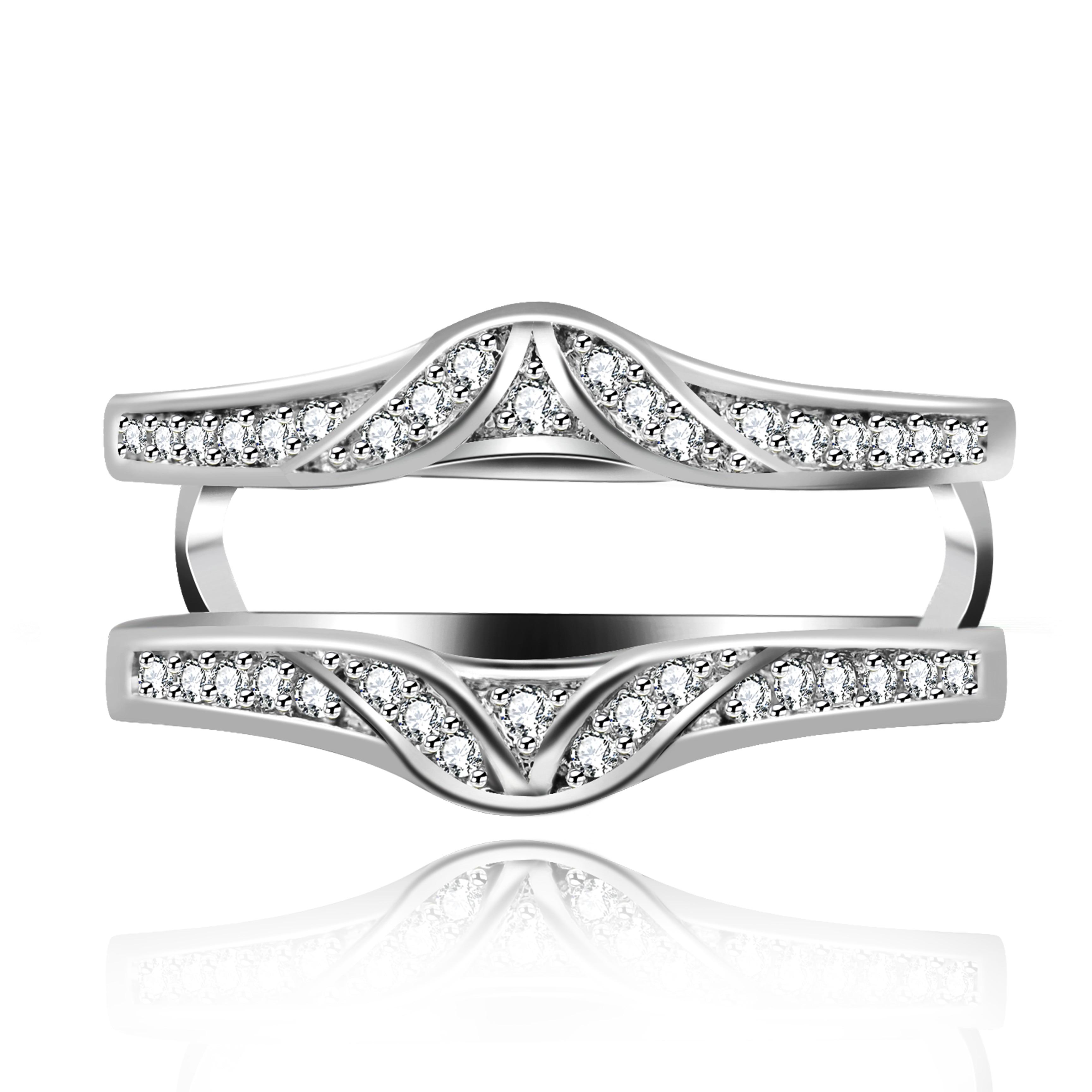 Us Stock White Gold Plated Ring Enhancer For Engagement Wedding