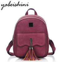 KMFFLY Tassel Women Leather Backpack Teenage Backpacks For Girls To Back School Vintage Feminine Backpack Sac
