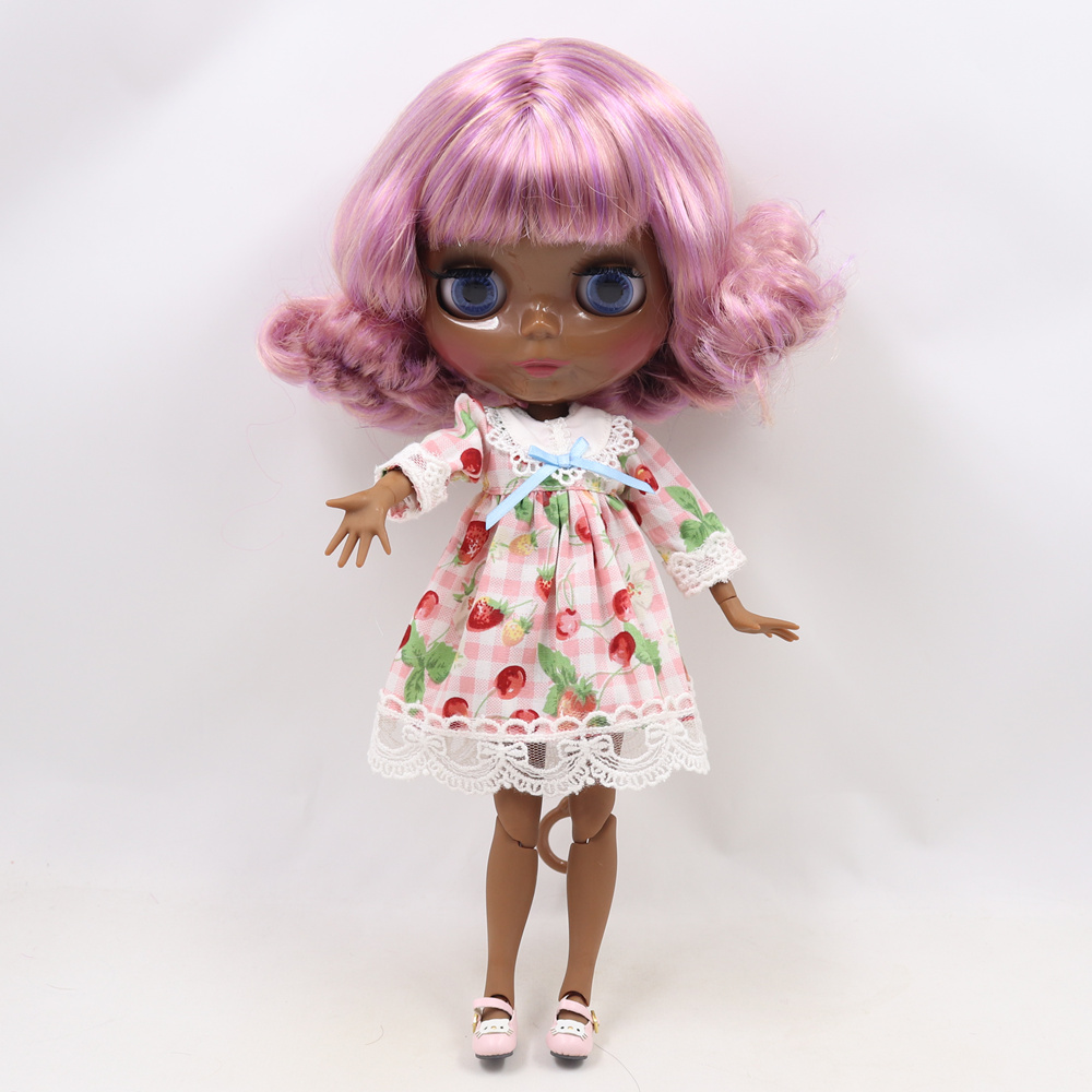 Blyth bambola nuda SUPER NERO Più Scuro tono della pelle 30 centimetri Rosa colore misto breve capelli ricci corpo MISTO icy sd di alta qualità regali giocattolo-in Bambole da Giocattoli e hobby su  Gruppo 2