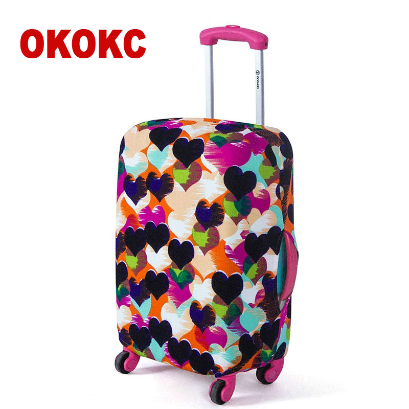 OKOKC Love Suitcase Protective Trunk Covers Apply To 18~30 Inch Case Elastic Travel Luggage Cover Stretch Trolley Dust cover цена