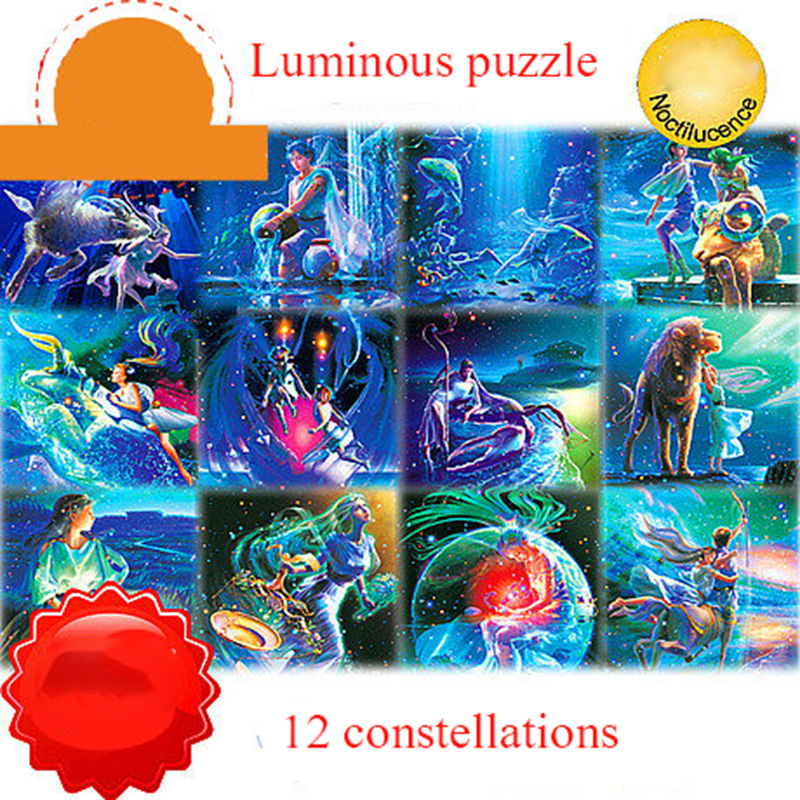 Luminous Thickening Puzzle 1000 Pieces Adult Child Puzzle Aries Constellation Puzzle