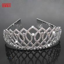 AINAMEISI Fashion New Tiaras And Crowns Wedding Hair Accessories Princess Bride Crown Silver Rhinestones Tiara Hair Jewelry Gift