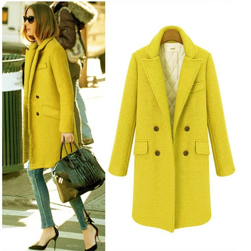 Buy Winter Wool Coats Jackets Women 2015 Yellow Double Breasted ...