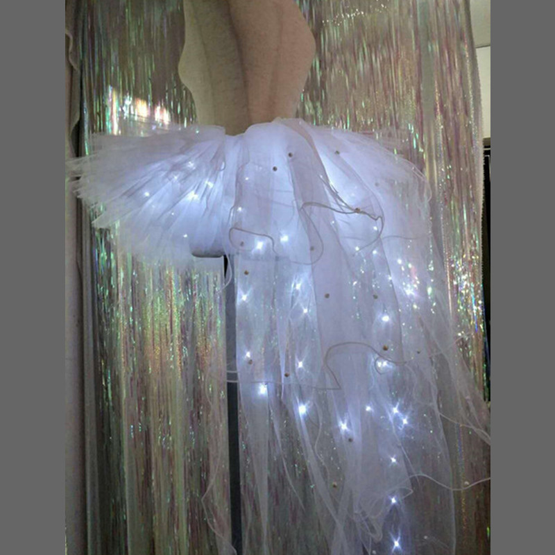 Led Light Up Trailing Party Dress TUTU Led Luminous Skirt Electric Music Festival Ballroom Auto Show Stage LED Clothes