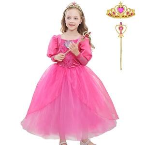 Image 2 - Girls Little Mermaid Princess Ariel Dress Up Dresses Kids Fancy Frock Role Playing Costume Birthday Party Wedding Flower Girl