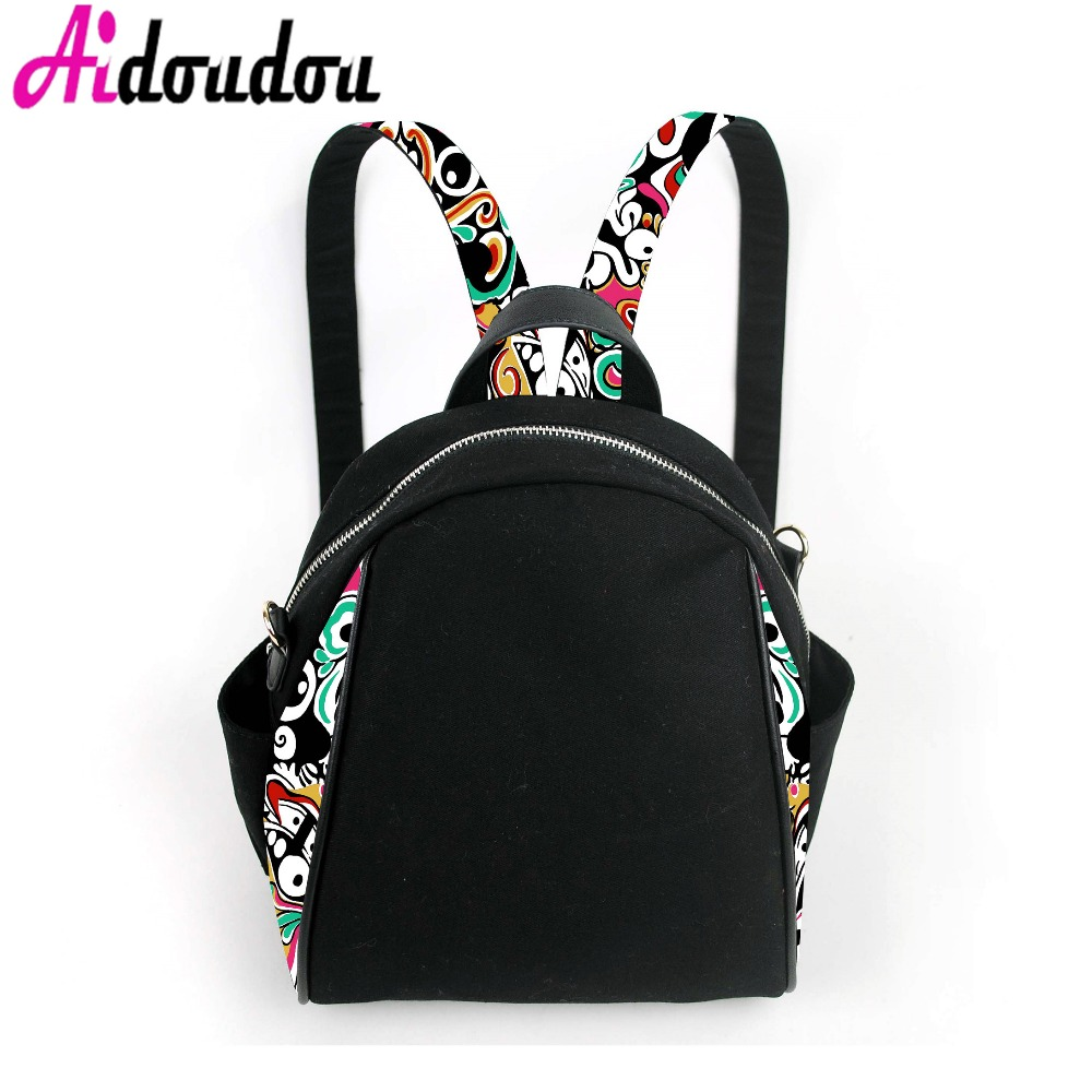 Fashion Flowers Printing Canvas Backpacks Female Drawstring Style Travel Rucksack Teenagers Girls Colorful School Bags ciker new preppy style 4pcs set women printing canvas backpacks high quality school bags mochila rucksack fashion travel bags