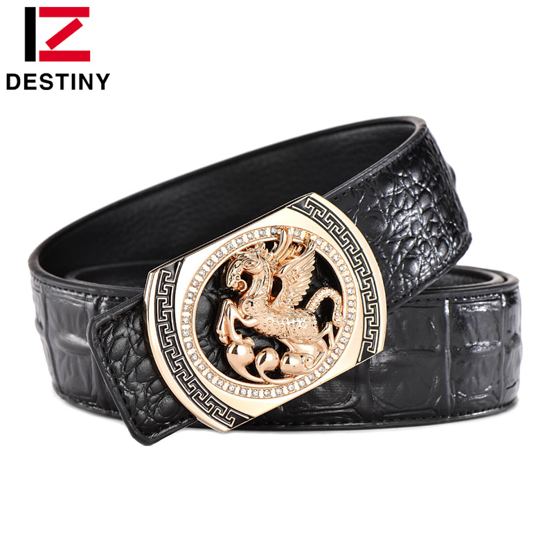 DESTINY Designer   Belts   Men Luxury Famous Brand Male Genuine Leather Strap Waist Gold Silver Horse   Belt   Pegasus Design Wedding