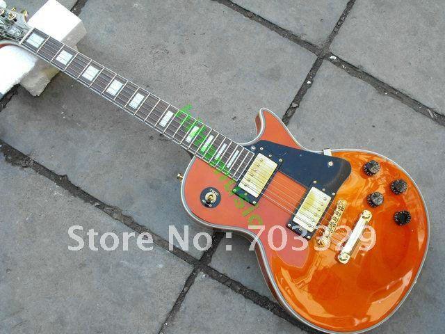 brand new orange LP custom guitar free shipping RED yellow guitars free shipping golden hardwares customized OEM good quality
