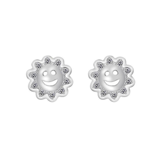 Cute Smiley Face Sunflower Earrings Small Cubic Zirconia Sun Stud Earrings  Girls Favor Jewelry Gold Color 165709d91b24