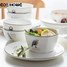 4Pce/Set Simple Tableware Rice Soup Bowls Children's Rice Bowls Household Personality Ceramics Square Bowl Kitchen Dinnerware
