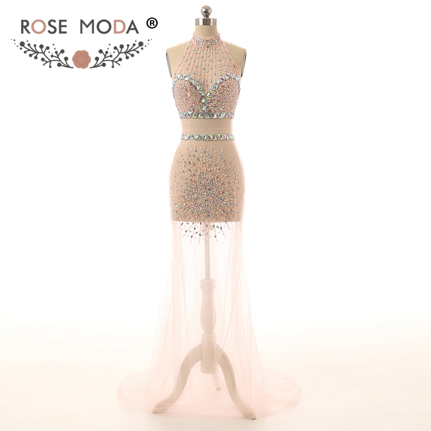 9d149b7b9b66f Rose Moda Sexy See Through Peach Prom Dresses with Crystals Reflective  Dresses 2019