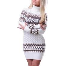 LASPERAL 2019 Spring Winter Sweater Women Long Sleeve Sweater Dress Turtleneck Pullover Female Long Patchwork Snowflake Knitwear недорого