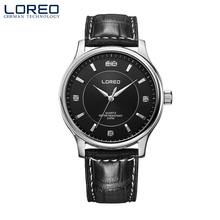 LOREO scratch resistant waterproof diamond 316L Stainless Steel fashion leisure quartz men's simple luxury business watch
