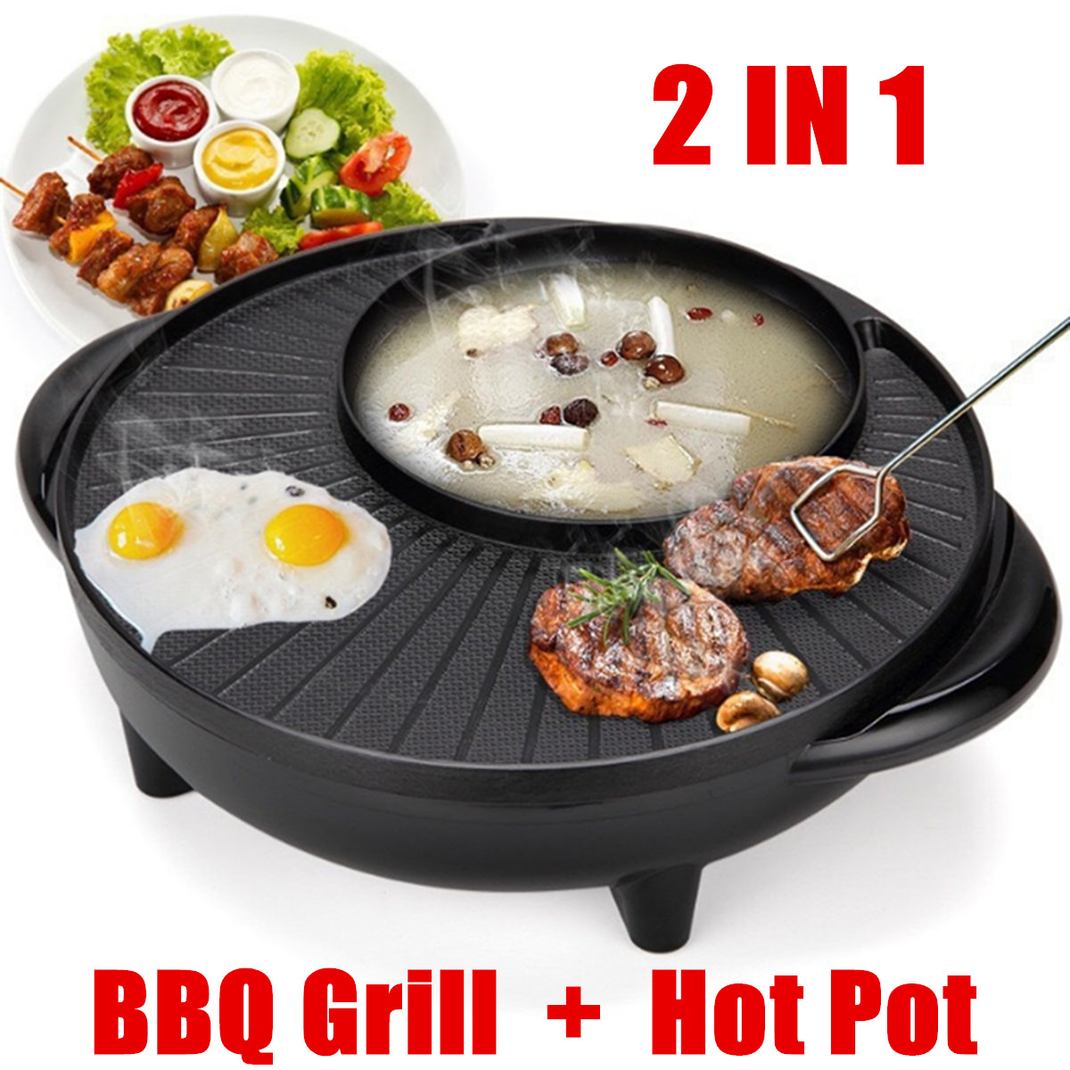 Multifunctional Electric BBQ Grill Non Stick Plate Barbecue Pan Hot Pot Dinner Party Picnic Skillet Maker 2-8 People 1350W 220V