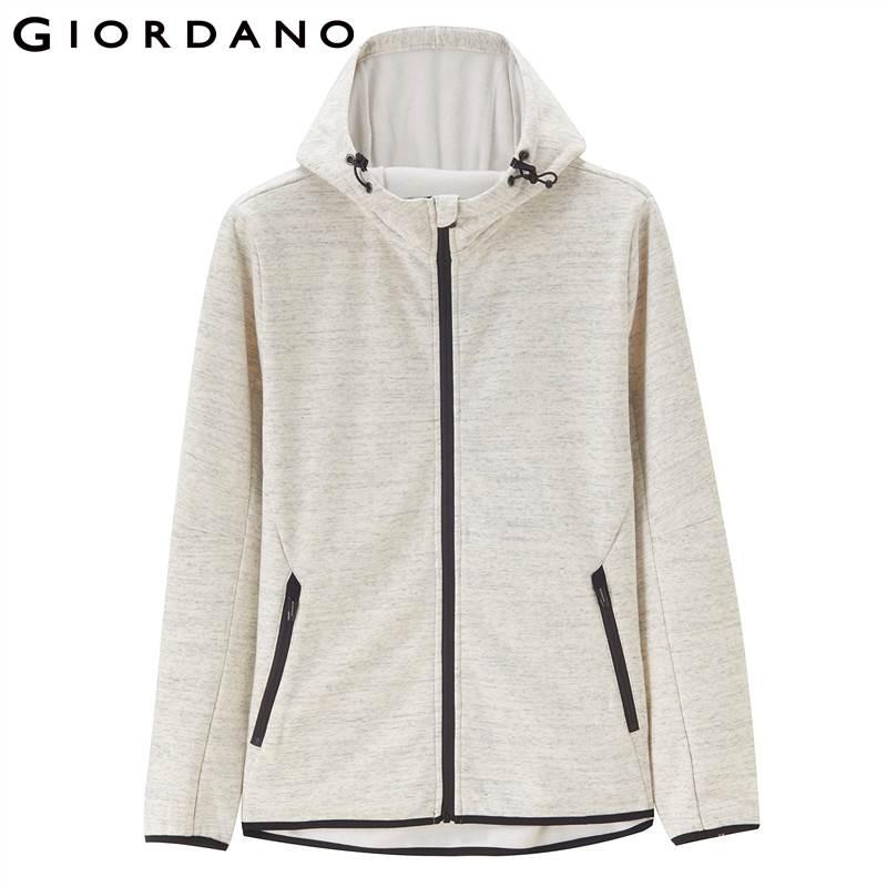 Giordano Men Jacket Men Polar Fleece Hooded Jacket Smooth Fleeced Lining Windproof Drawstring Hood Chaqueta Hombre Banded Cuffs