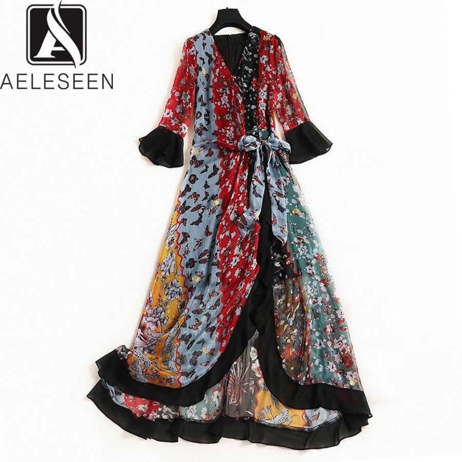 AELESEEN Vintage Robe D'été 2019 Flare Demi Manches Fleur Ceintures Imprimé Robe Ethinic Bohemain Longues Slim Femmes Élégantes Robe